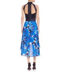 THEIA | Black Crepe & Chiffon Hi-lo Dress | Lyst
