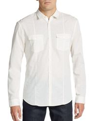 John Varvatos - White Regular-fit Cotton & Linen Sportshirt for Men - Lyst