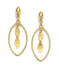 Gurhan - Metallic 24k Yellow Gold-layered Marquis Drop Earrings - Lyst