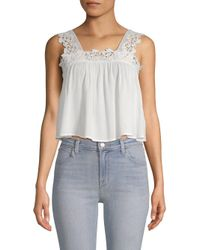Lost + Wander - White Lola Sleeveless Cropped Top - Lyst