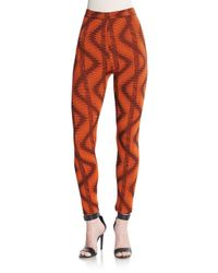 M Missoni - Orange Abstract-print Skinny Pants - Lyst