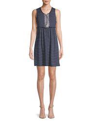 Max Studio - Blue Striped Sleeveless Dress - Lyst