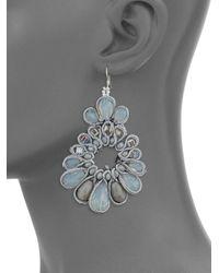Panacea - Gray Beaded Drop Earrings - Lyst