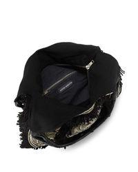 Antik Batik - Black Cabas Fringed Cotton Bag - Lyst