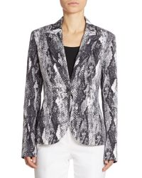 St. John - Multicolor Snakeskin-print Stretch Cotton Jacket - Lyst