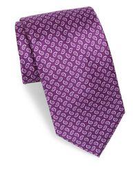 Brioni - Purple Small Paisley Silk Tie for Men - Lyst