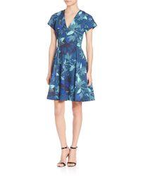Rebecca Taylor - Blue Tahitian Floral-print Dress - Lyst