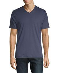 Saks Fifth Avenue - Blue V-neck Short-sleeve Cotton Tee for Men - Lyst