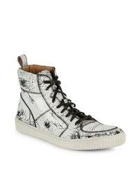 John Varvatos - Brown Bedford Leather High-top Sneakers for Men - Lyst