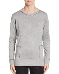 Calvin Klein - Gray Contrast Stitch Sweater - Lyst