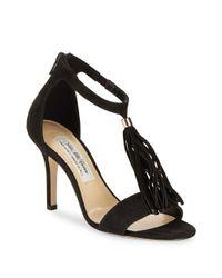 Saks Fifth Avenue - Black Ginger Leather Open-toe Stilettos - Lyst