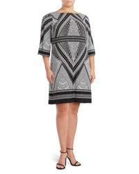 Calvin Klein - Black Printed Boatneck Dress - Lyst