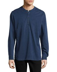 Orlebar Brown - Blue Textured Long-sleeve Cotton Top for Men - Lyst