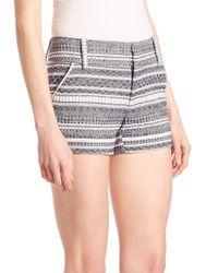 Alice + Olivia - Blue Cady Printed Stripe Shorts - Lyst