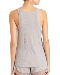 Skin - Gray Lauren Lace-trimmed Waffle-knit Cotton Tank Top - Lyst