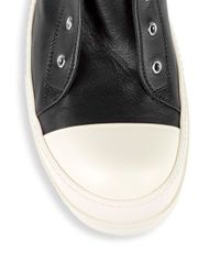 Rick Owens - Black Lace-up Leather High-top Sneakers for Men - Lyst