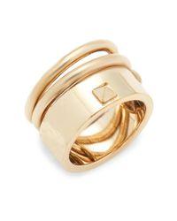 Valentino - Metallic Rockstud Spiral Ring - Lyst