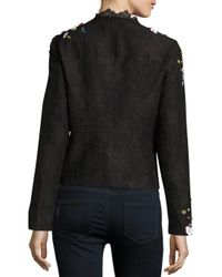 Elie Tahari - Black Marta Embellished Bomber Jacket - Lyst