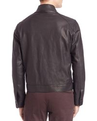 Saks Fifth Avenue | Black Lamb Leather Zip Front Jacket for Men | Lyst