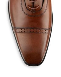 Massimo Matteo - Brown Leather Perforated Oxfords for Men - Lyst