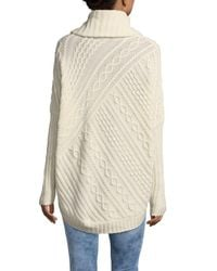 BCBGMAXAZRIA - Gray Linden Cabled Cowlneck Sweater - Lyst
