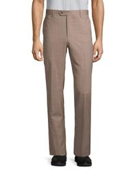 Saks Fifth Avenue Brown Wool Flat-front Pants for men