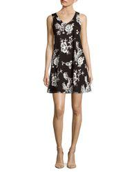 Saks Fifth Avenue - Black Floral A-line Dress - Lyst