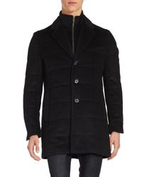 Saks Fifth Avenue - Black Quilted Wool-blend Coat for Men - Lyst