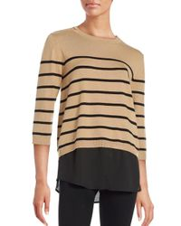 Karl Lagerfeld - Natural Crewneck Mock Layer Striped Sweater - Lyst