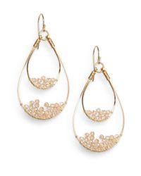 Nunu | Metallic Champagne Wire-beaded Teardrop Earrings | Lyst