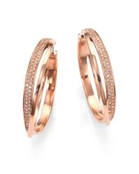 Michael Kors - Metallic Pavé Interlocking Hoop Earrings - Lyst
