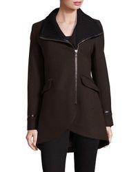 Trina Turk - Green Mackenzie Leather-trimmed Moto Coat - Lyst