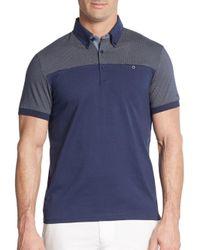Ben Sherman - Blue Pindot-panel Cotton Polo Shirt for Men - Lyst
