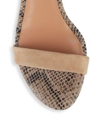 Halston Heritage - Natural Mandi Embossed Leather Ankle Strap Sandals - Lyst