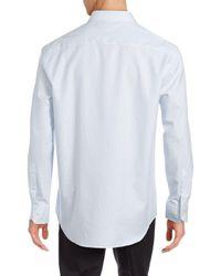 Bugatchi - Blue Tonal Jaquared Shirt for Men - Lyst