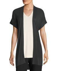 Eileen Fisher - Black Rib-knit Kimono Cardigan - Lyst