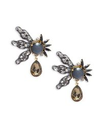 Tataborello - Black Crystal Studded Earrings - Lyst
