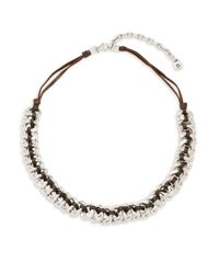 Uno De 50 | Metallic Sterling Silver & Leather Seduce Me Braided Necklace | Lyst
