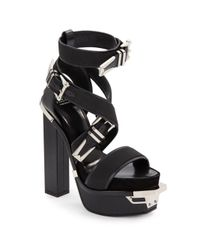 Versace - Black Leather Buckle Platform Sandals - Lyst