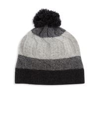 Saks Fifth Avenue - Gray Tri Color Cashmere Beanie - Lyst