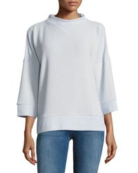 French Connection - Blue Solid Ribbed Pullover - Lyst
