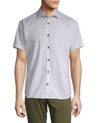 Jared Lang - White Printed Short-sleeve Cotton Button-down Shirt for Men - Lyst