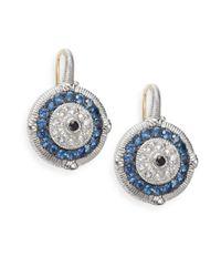 Judith Ripka - Lucky Blue, White & Black Sapphire Evil Eye Earrings - Lyst