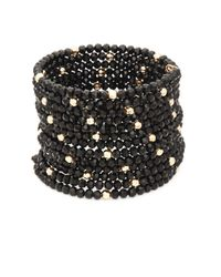 Saks Fifth Avenue - Black Faceted Wrap Bracelet - Lyst