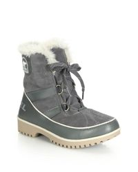 Sorel - Gray Tivoli Ii Faux Fur-trimmed Suede & Leather Lace-up Boots - Lyst
