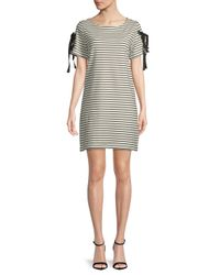 Workshop - Black Striped Short-sleeve Dress - Lyst