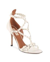 Valentino - Natural Grommet Leather Stiletto Sandals - Lyst