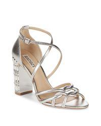 Badgley Mischka - Soria Metallic Rhinestone Heels - Lyst