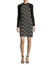 Missoni - Black Long-sleeve Printed Sheath Dress - Lyst
