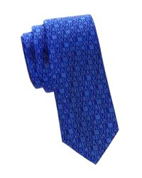 Versace - Blue Logo Silk Tie for Men - Lyst